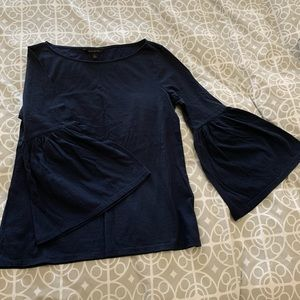 Banana Republic Bell Sleeve Top in Navy Size Small